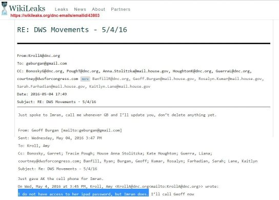Wikileaks DNC leaked emails shows DWS email passwords