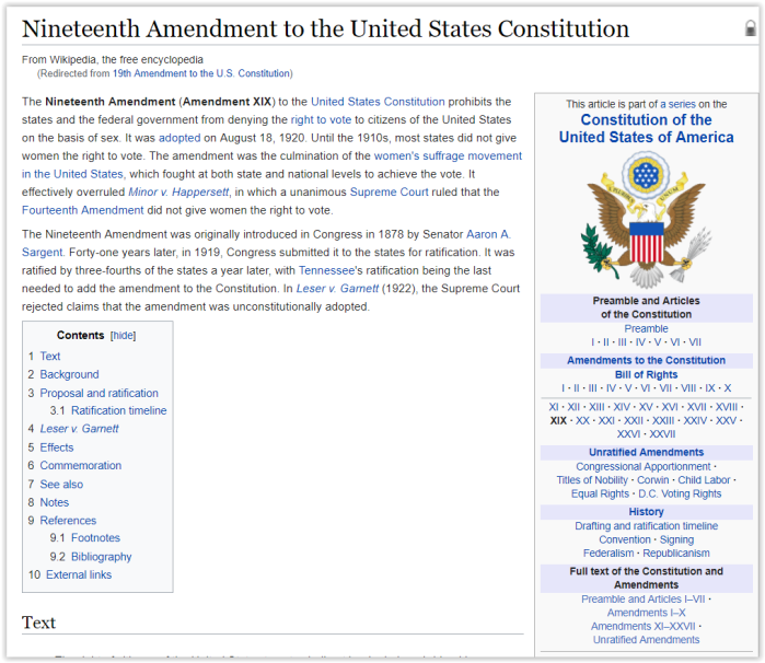 19th Amendment to the US Constitution