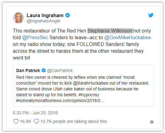 The Red Hen - Lexington, Virginia Red Hen: Setting the record straight - Sarah Sanders