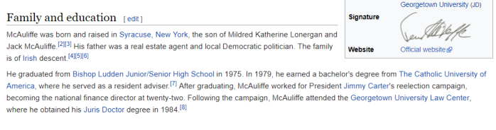 McAuliffe and Lexington's Red Hen Connections -Terry McAuliffe - lexington, virginia - Juris Doctor