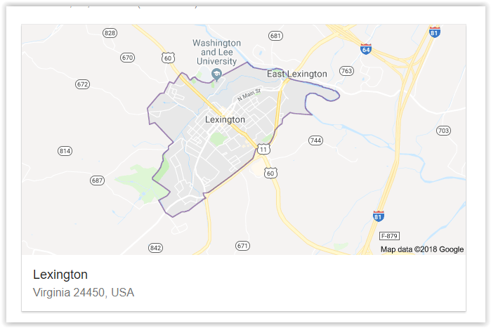 Map of Lexington - Virginia