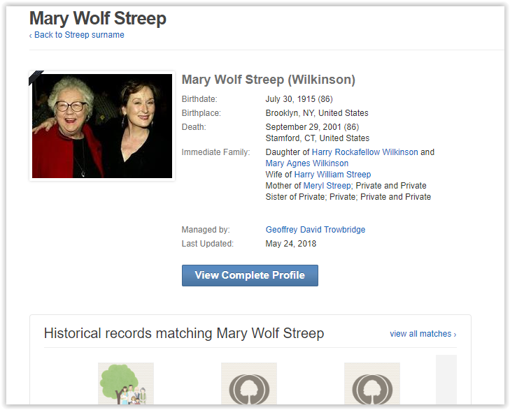 Meryl Streep Wolf - wilkinson - cousin of Stephanie Wilkinson of Red Hen Lexington Virginia