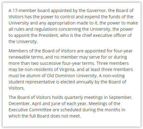 Board of visitors explanation
