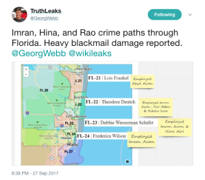 Imran Hina and Rao crime paths through Florida. Heavy blackmail damage reported. GeorgWebb wikileaks https