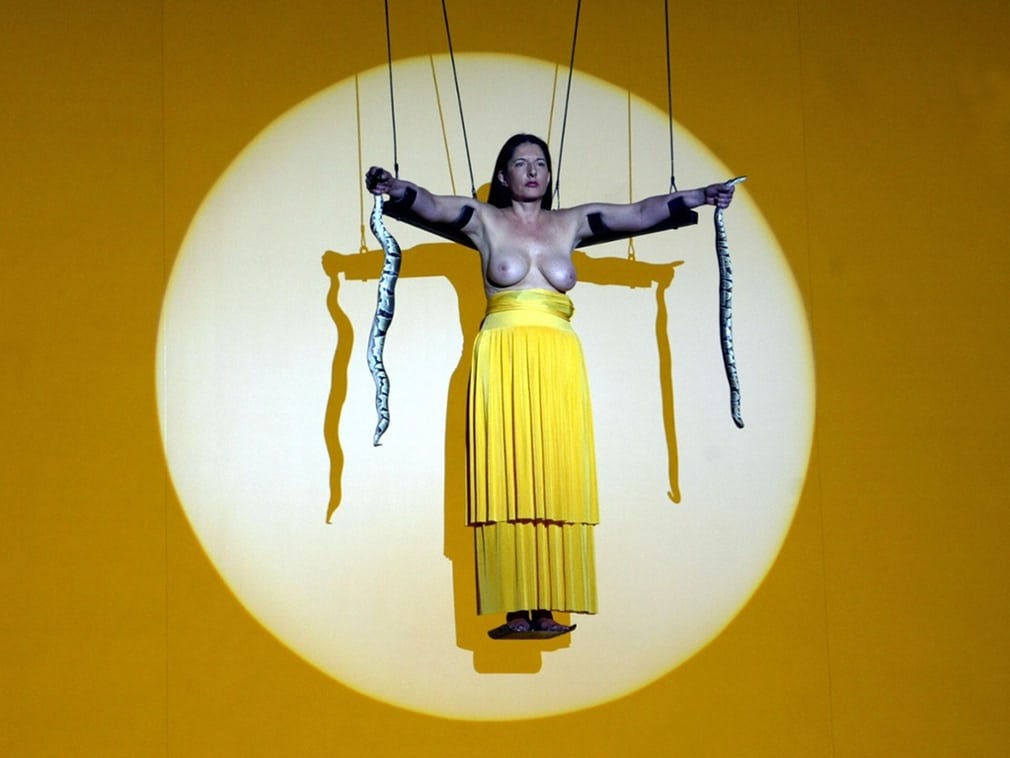 Abramović as the Minoan snake goddess, performing The Biography Remix in 2005 at the Theatre Festival in Avignon, France. Photograph: Anne-Christine Poujoulat/AFP/Getty Images
