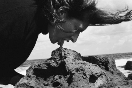 Marina abramovic licking rocks in the beach