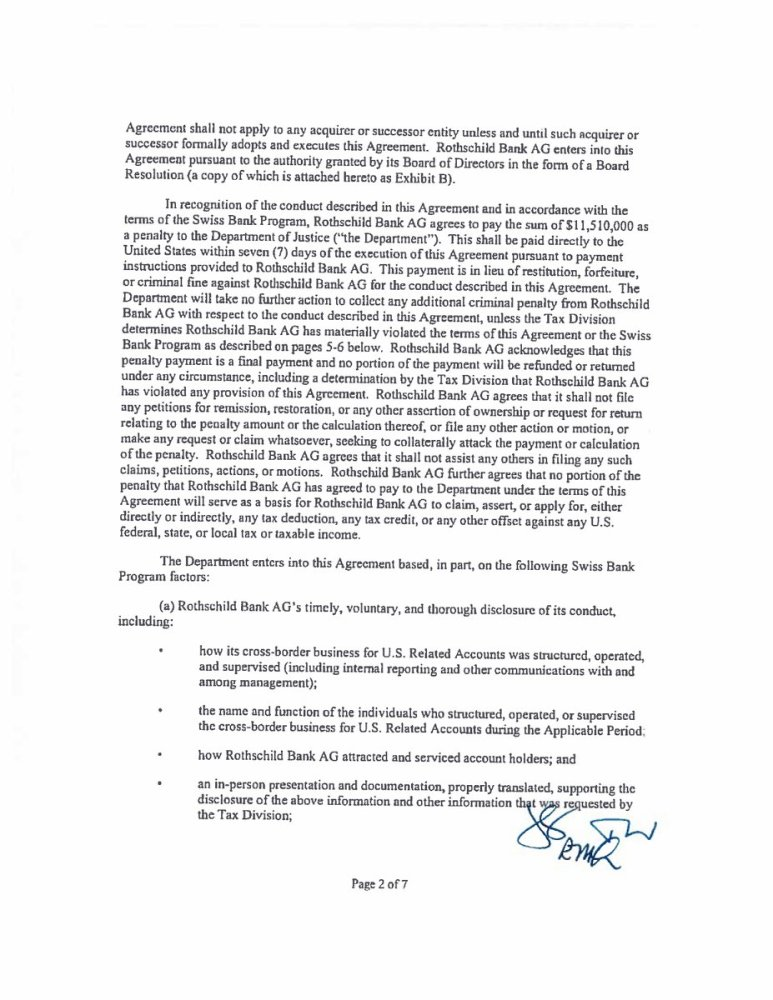 Rothschild Bank AG submitted a letter to the Department of Justice's Program for Non-Prosecution Agreements or Non-Target Letters for Swiss Banks (aka, the Cabal) - George M. Nasif and The Rothschild documents Doj - Elemi fuentes
