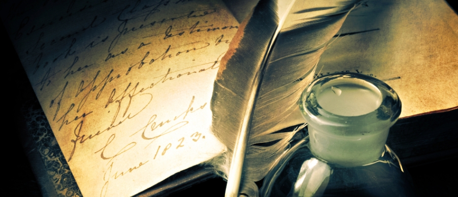 Old book with feather and inkpot personal writing elemi fuentes