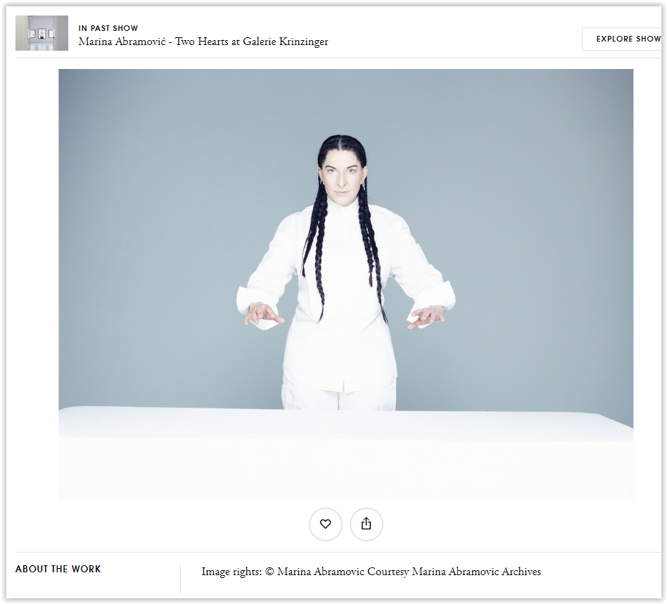 Marina Abramovic Two hearts 2018