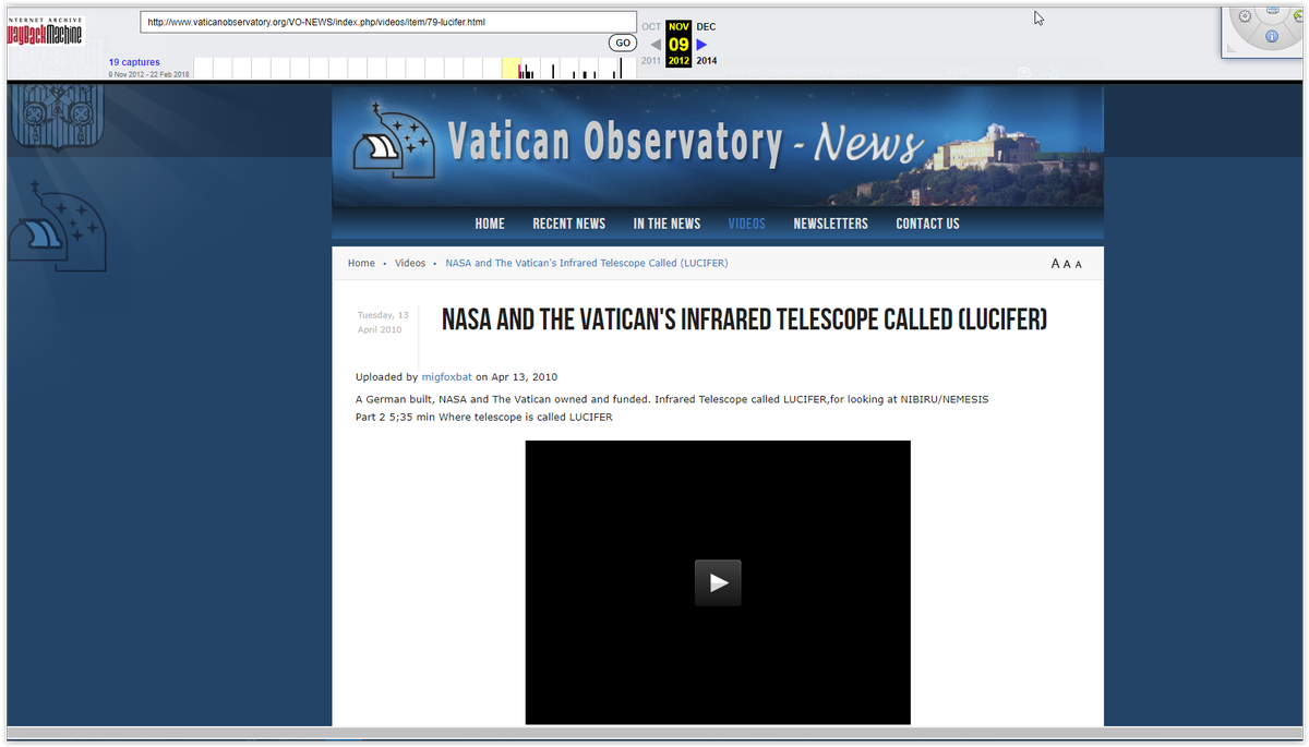 Vatican Lucifer telescope mount grahamm arizona invisible entities