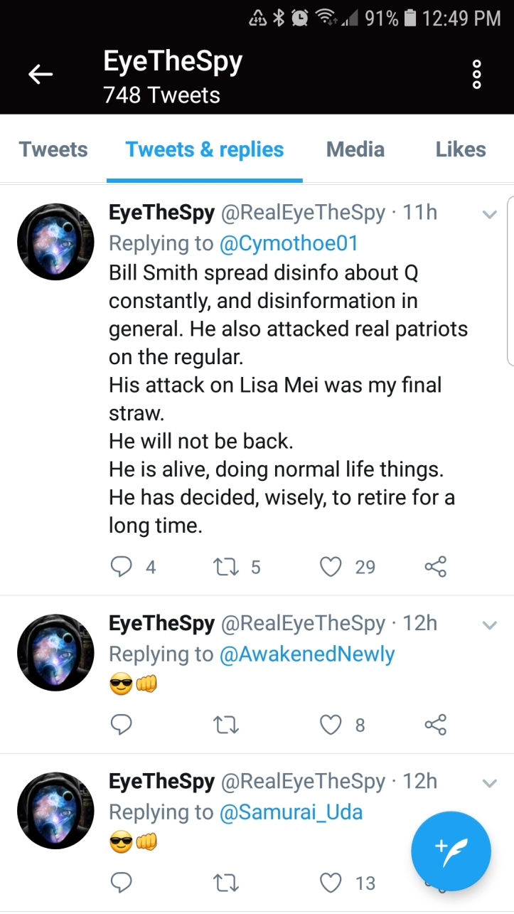 EyeTheSpay so-called NSA patriot threatens to dox people online for questioning the Qanon narrative