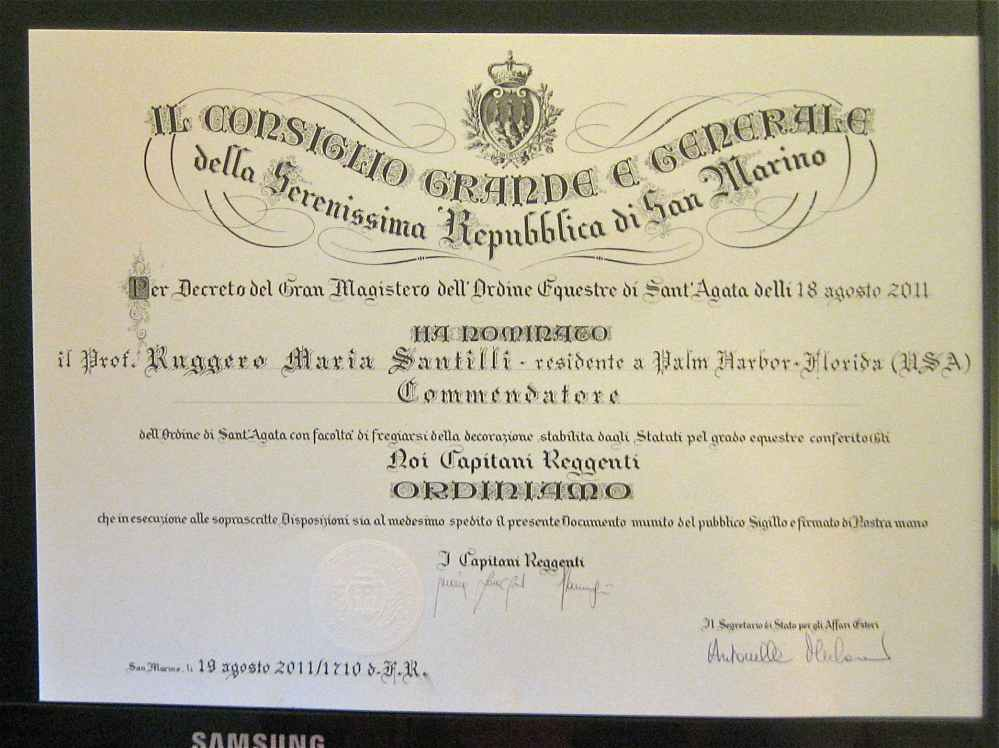 The official decree of the Grand Council of the Republic of San Marino bestowing to Prof. R. M. Santilli the Grand Cross of the St. Agata order