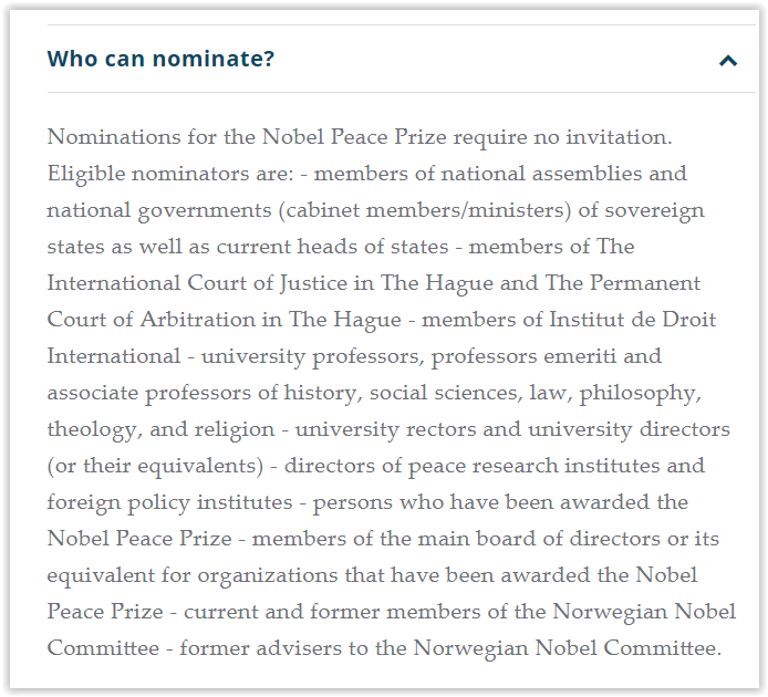 Nobel prize nomination - who can nominate for a nobel prize