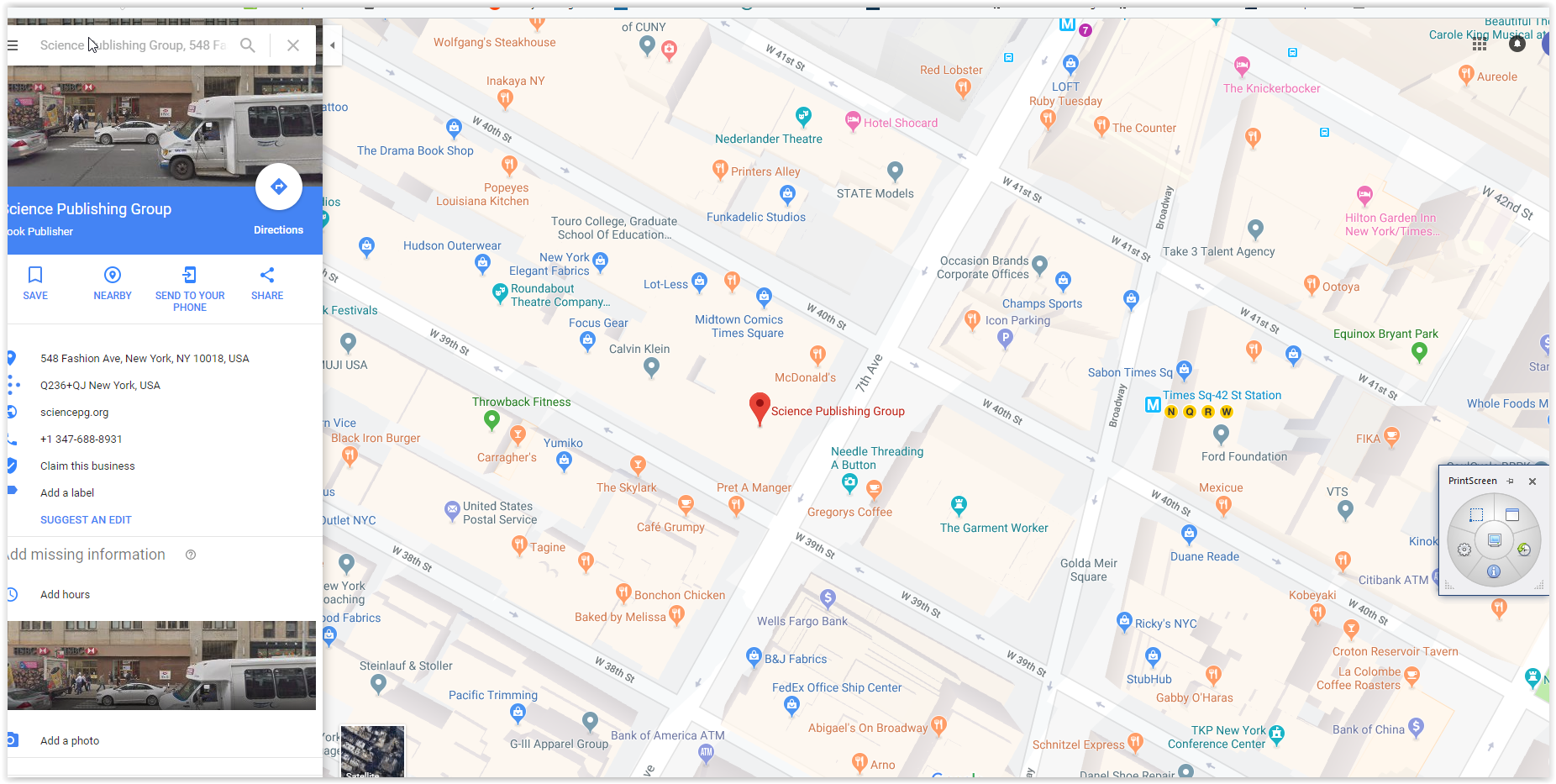 Science publishing group - google maps