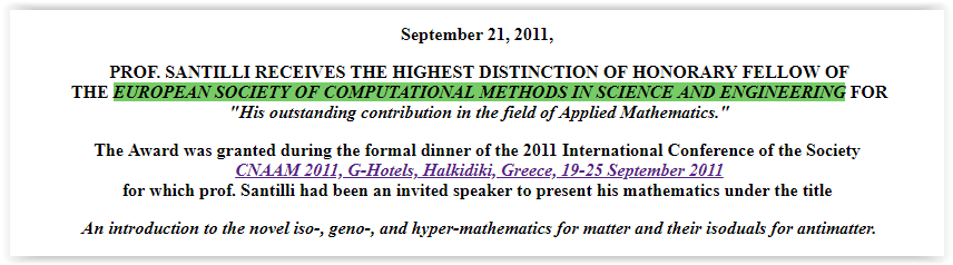 European Society of Computational Methods in Science and Engineering - Santilli