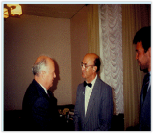 Prof. Santilli during a 20 minutes meeting with President Mikhail Gorbachev (and an interpreter on the right) following the collapse of the U.S.S.R. in August 1993. The late Prof. C. N. Bogoliubov, when Director of the JINR in Dubna, Russia, had been one of the founders of the Hadronic Journal jointly with Nobel Laureate C. N. Yang, Nobel Laureate I. Prigogine and other distinguished scholars, when the journal was organized in 1978 by Prof. Santilli then at Harvard University.