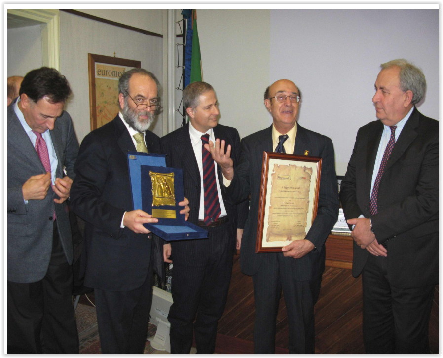 Prof. Santilli at the reception of the prestigious Mediterranean Prize on January 22, 2009. This prize has also been awarded to Hilary Clinton, Price Albert of Monaco, France President Nicolas Sarkozy, Juan Carlos King of Spain, international architect Renzo Piano, and other famous people.