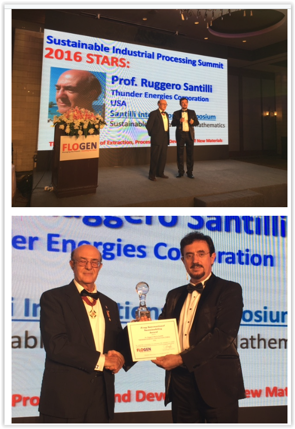 2016 Fray International Sustainability Award to Prof. R. M. santilli