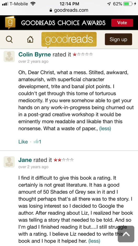 Liz crooking bad reviews on her novel malice makes people think the only positive reviews come from friends and family members