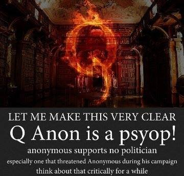 Anonymous group denounces qanon with  #opFuhQ #OpQ #FuhQ #FuckQ #FuckQanon