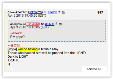 Pope will be having a terrible May - Qanon posts