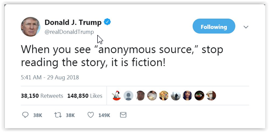 "Donald Trump: ""when you see anonymous source"", stop reading the story, it is fiction! - Donald Trump Qanon -"