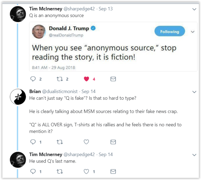 Qanon is not an anonymous source. Qanon is anonymous Qanon - cognitive dissonance