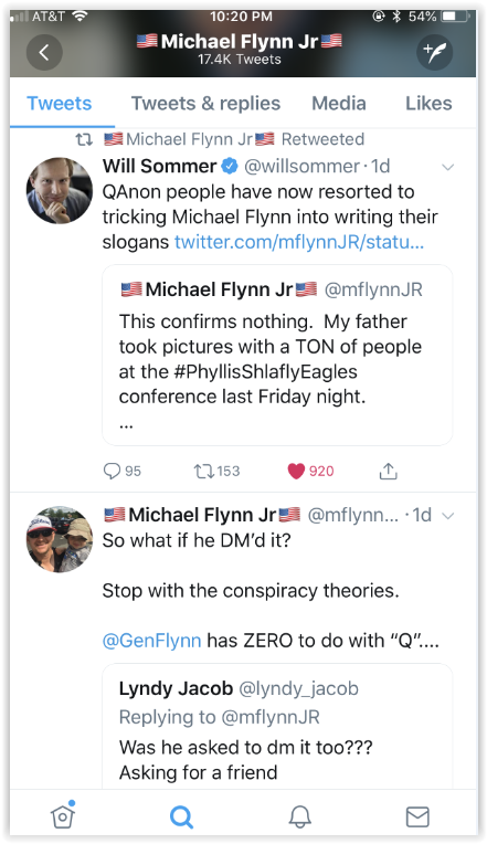 Michel Flynn Junior told Qanon qultists qunts that his father had nothing to do with qanon and to stop pushing conspiracy theories