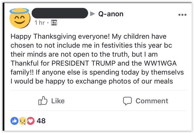 qanon tears families apart -qfolk conspiracy followers talk about being alone during holidays because relatives think they are crazy for believing in a cult that always lies