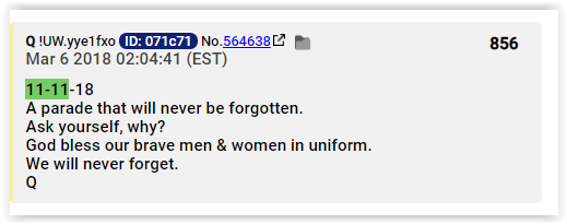 Qanon claims that a parade that will never be forgotten would take place on 11.11.18 - debunking qanon lies