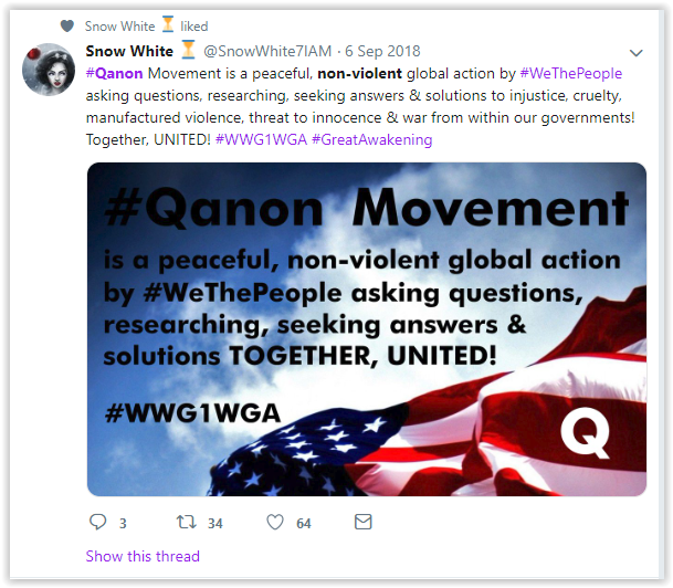 Qanon group claims their cult is a non-violent  research group - qanon posts - qanon: the qult and the legende