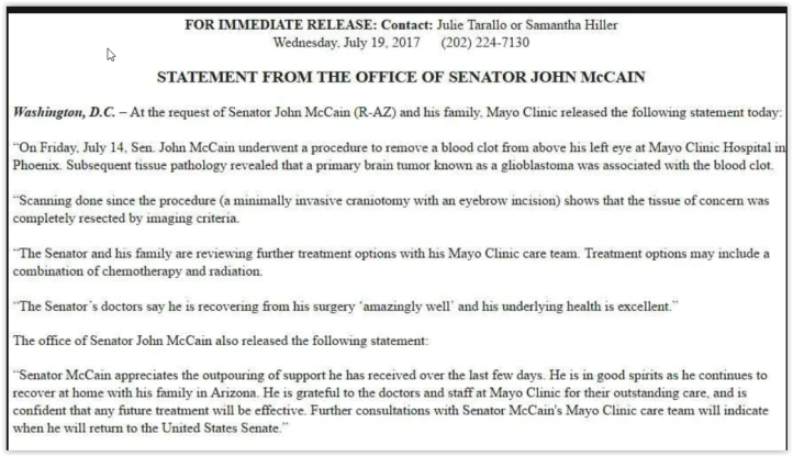 statement from the office of senator john mccain - brain tumor - qanon believers think john mccain was secretly executed by military tribunals
