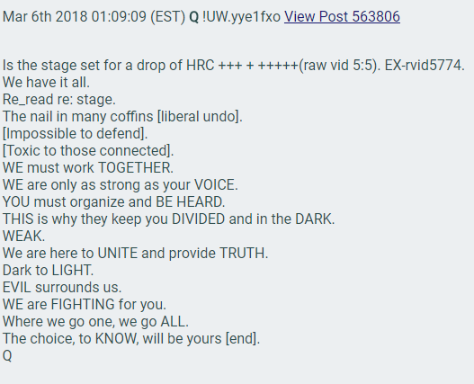 the stage is set HRC + Huma Abedin Frazzledrip video Qanon lies