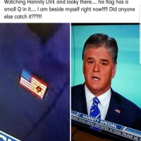 Sean Hannity wears a Qanon pin on air