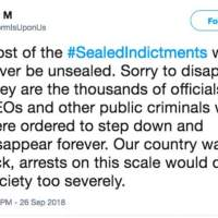 Joe M stormisupon us sealed indictments won't happen qanon
