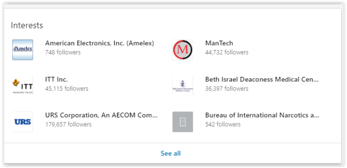 Aura's interests in her own Linkedin profile