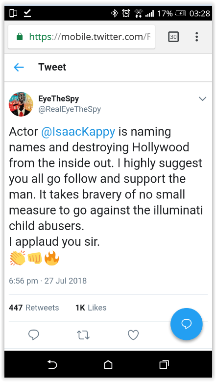 Qanon 'patriot' promoting Isaac Kappy