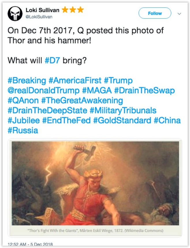 qanon massive event d7 is a picture of thor and his hammer