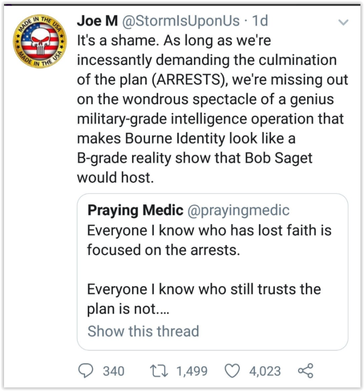 qanon promised mass arrest but is not about the arrest anymore qlies