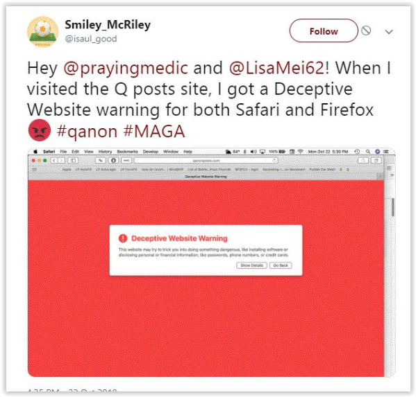 Qanon-maga websites infected with malware -qproofs.com