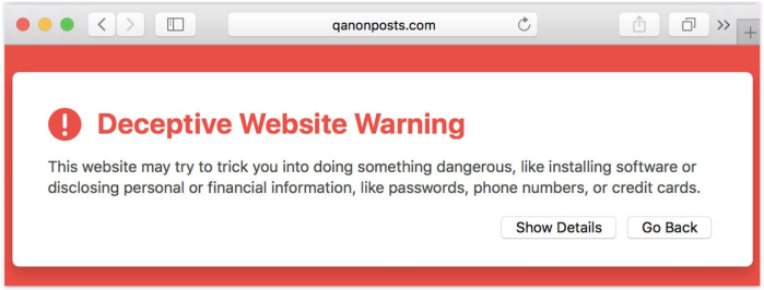 Qanon-maga websites infected with malware -qanonposts.com