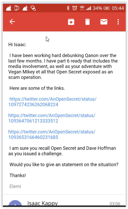 Elemi Fuentes to Isaac Kappy - email 1