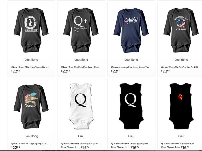 Amazon Qanon merchandise - nobody is making any money off Qanon - qanon posts - follow the cash