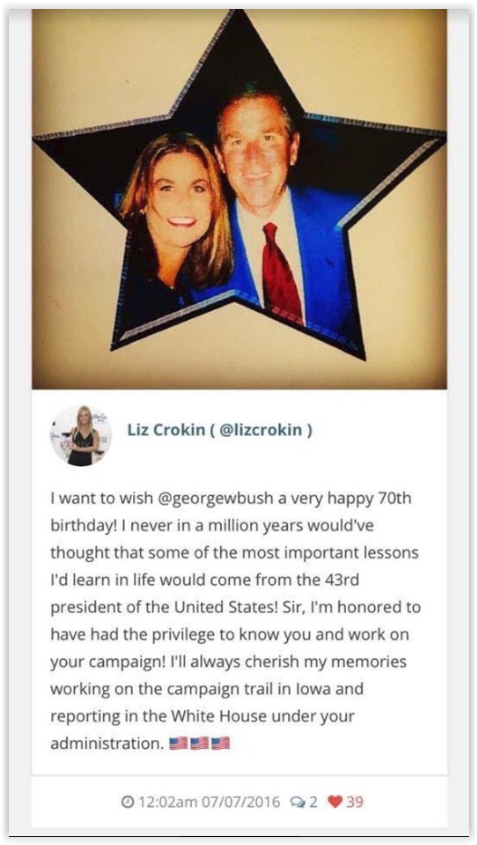 Liz Croking worked with George Bush in the trail campaign in Iowa - 43rd President of the United States -Qanon posts