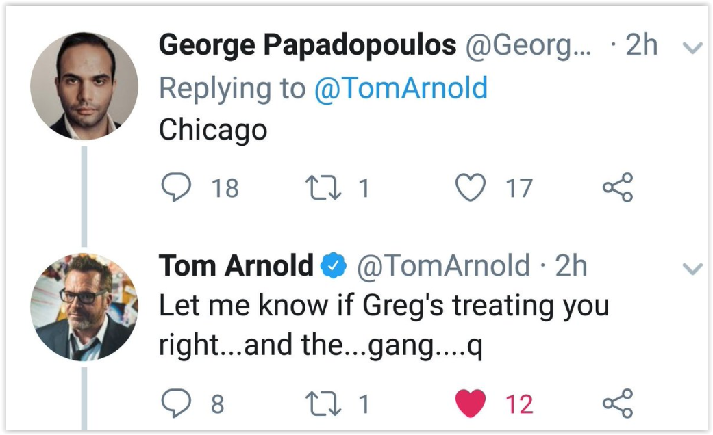 trump team - george papadopolus - trust the plan - qanon posts