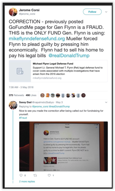 Jerome Corsi promotes fake GoFundMe for Gen. Flynn - Qanon posts -qscam -follow the money