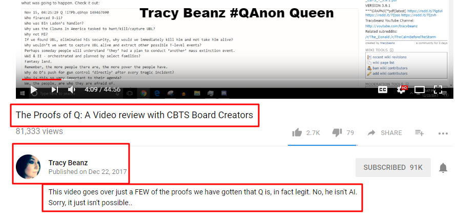 Tracy Beanz Qanon Queen videos -qanon posts - nobody is making any money