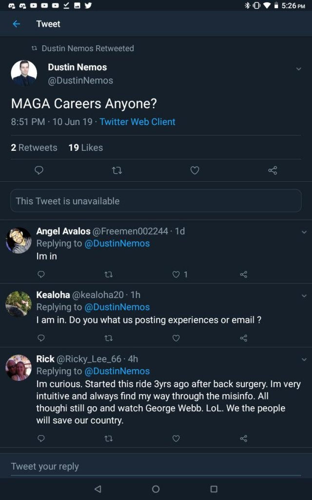Dustin Nemos offers 'Maga careers', patriots don't do it for the money, paytrots, Dustin nemos takes research from people and makes a profik