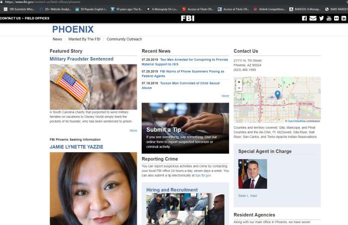 FBI field office Phoenix, Arizona
