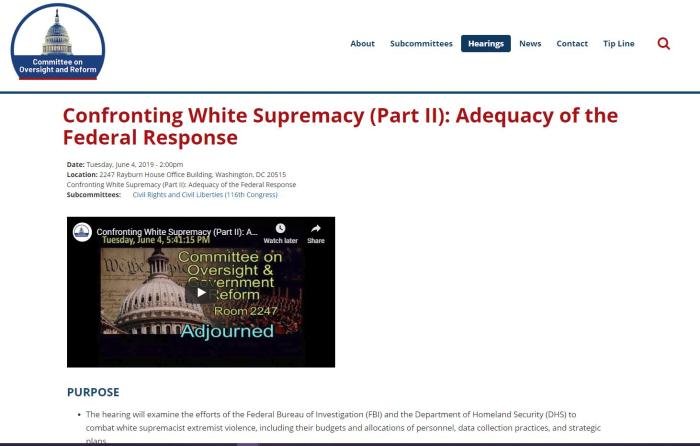 Confronting White Supremacy (Part II): Adequacy of the Federal Response